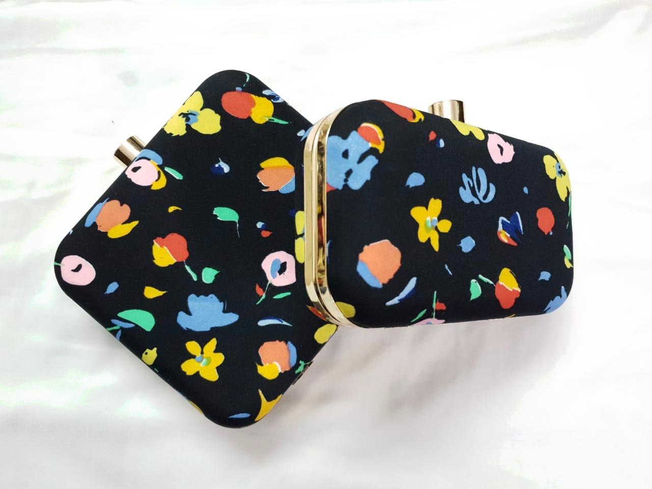 Spring Black Floral Clutch Bag/ Evening Bag.