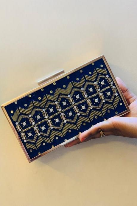 Beaded Handmade Box Handmade Clutch / Evening Bag/ Party Bag/ Wedding Clutch.
