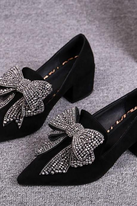 Bow Knot Stoned Studded Black Heels