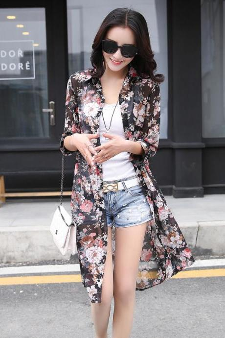 Black Floral Print Shrug with Belt