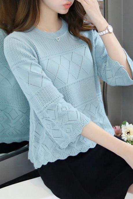 Knitted Hollow Sky Blue Top