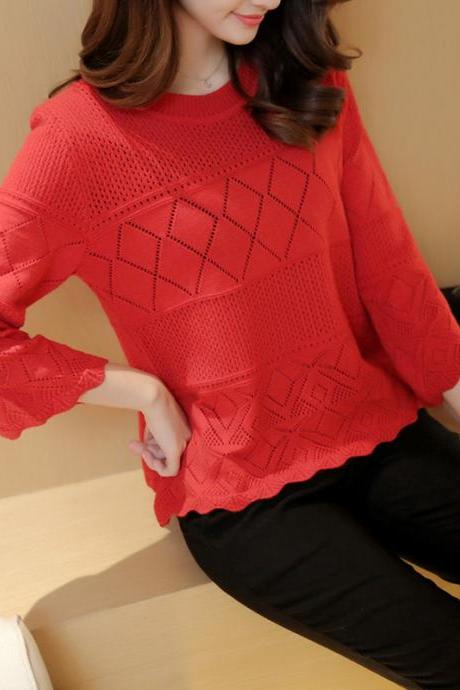 Red Knitwear Cutwork Pattern Top