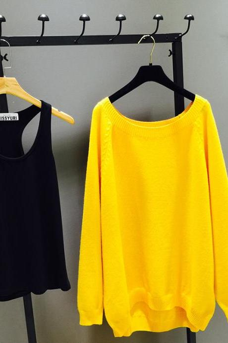 Sunshine Yellow Knitted Top with Black Sphagetti