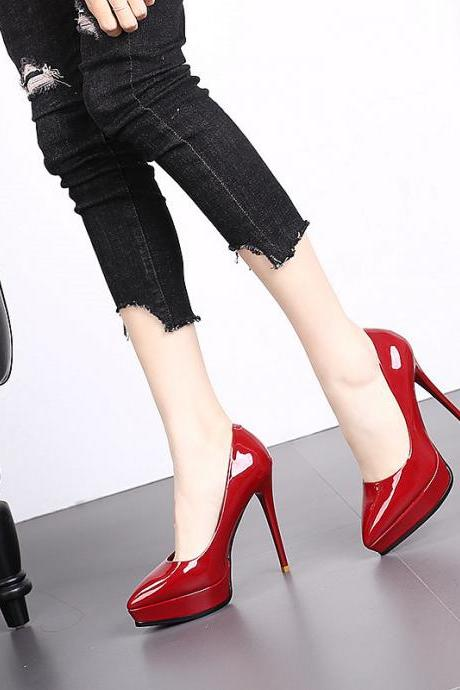 Pointed high heels waterproof platform stiletto fashion shoes 2019 spring new sexy patent leather Evening Shoe